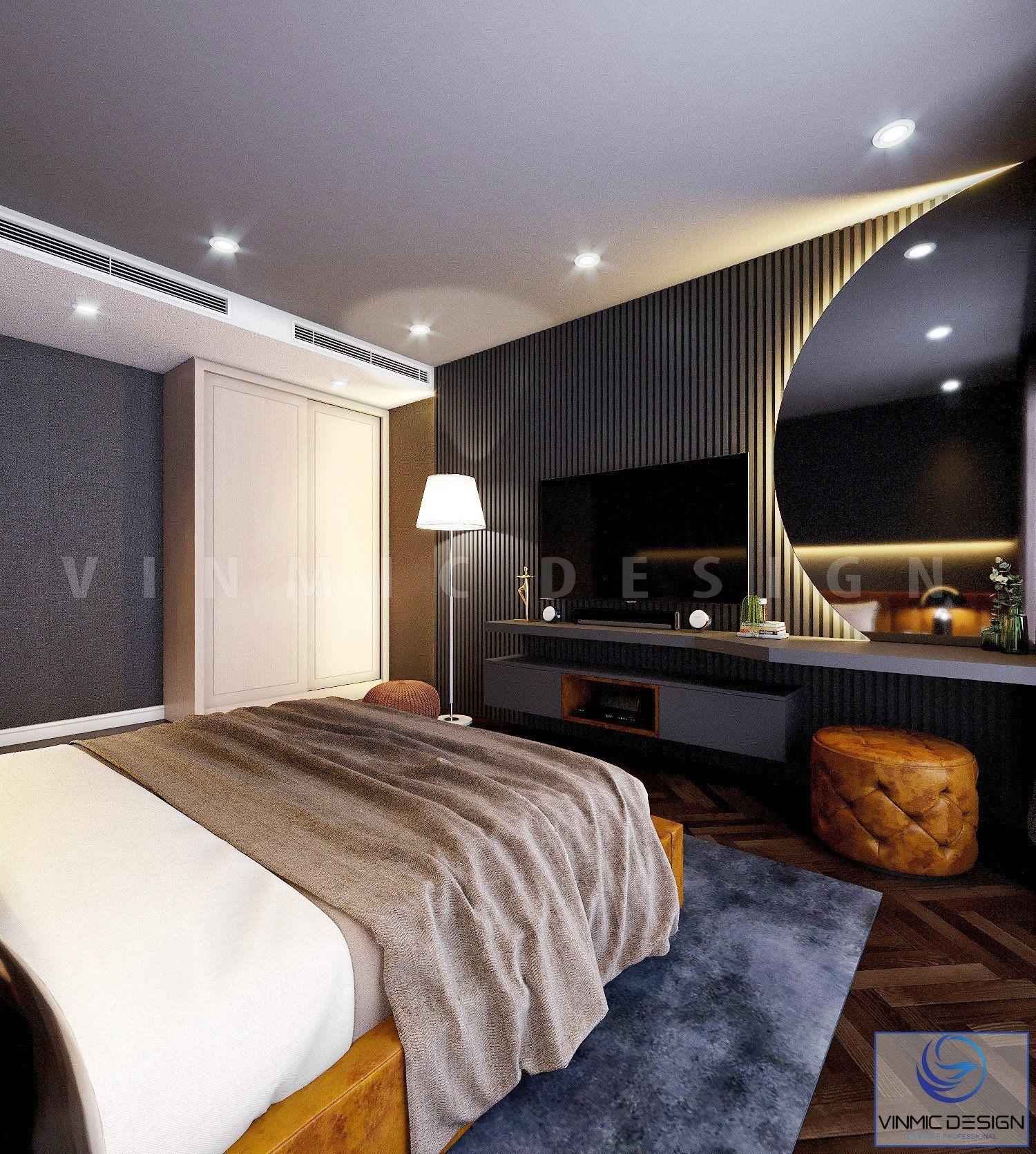 Phòng ngủ ấn tượng với phía sau gương là đèn led nổi bật