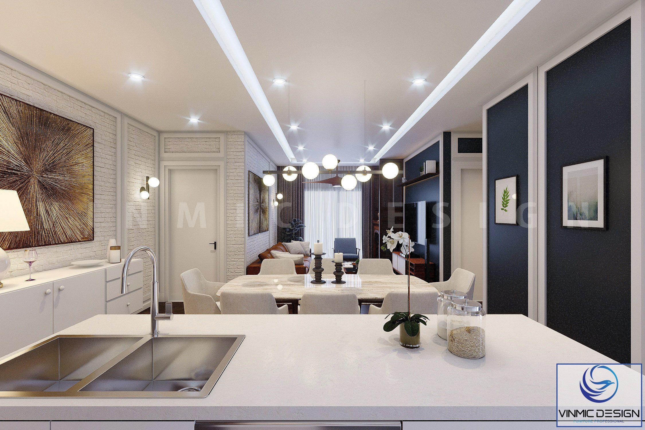 Tông màu sáng làm cho căn hộ trở nên rộng rãi và thoáng mát