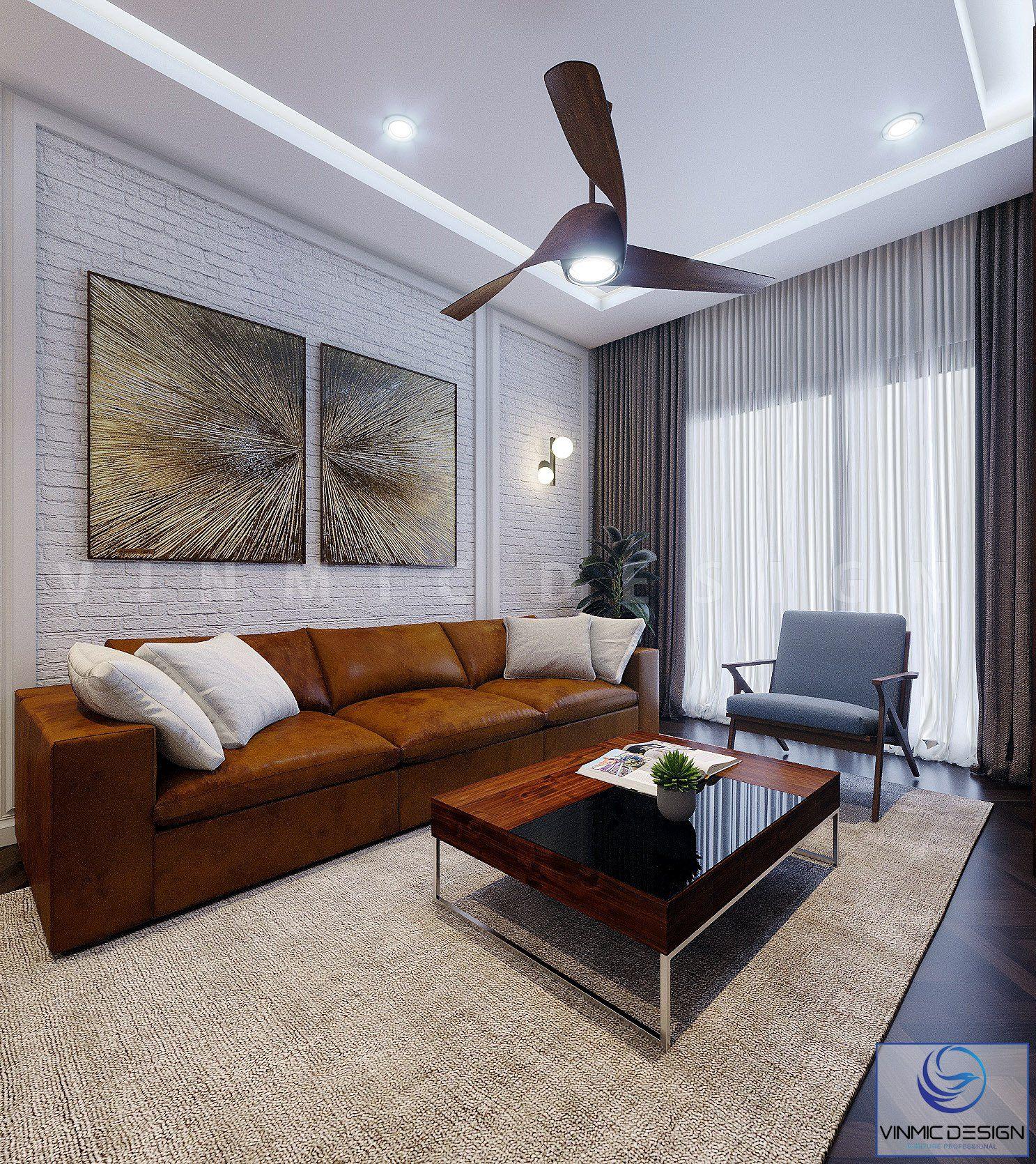 Thiết kế phòng khách với bộ sofa nổi bật
