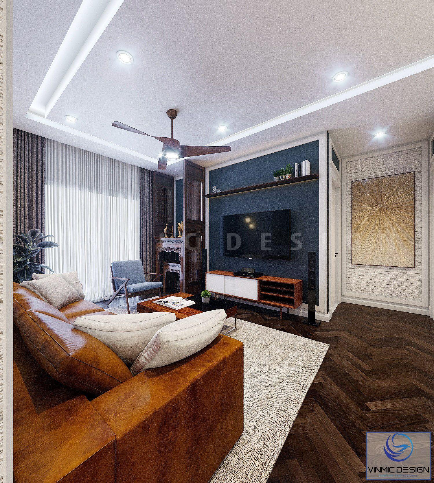Phòng khách được thiết kế kệ ti vi tiện lợi