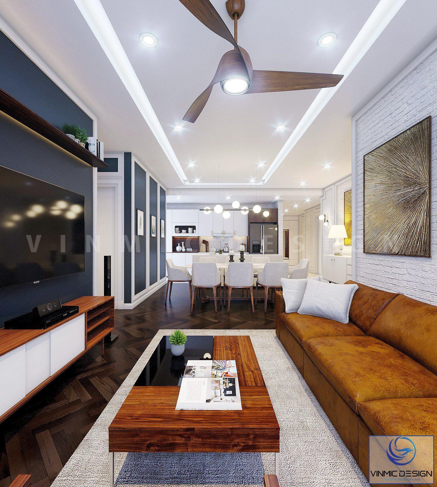 Phòng khách bếp được thiết kế liên thông nhau