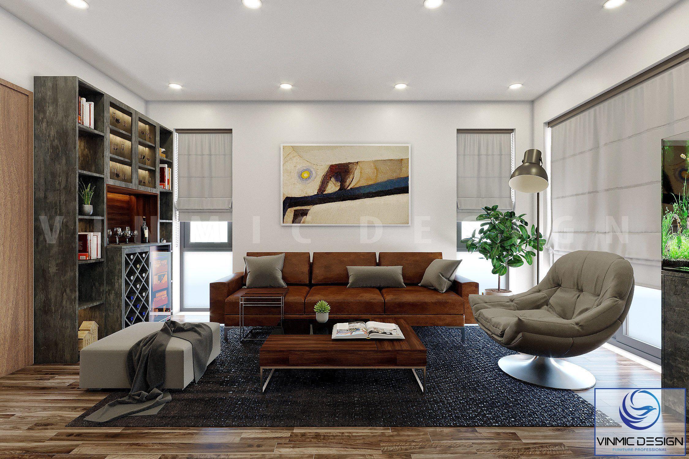 Thiết kế tủ rượu nổi bật nên không gian căn phòng này