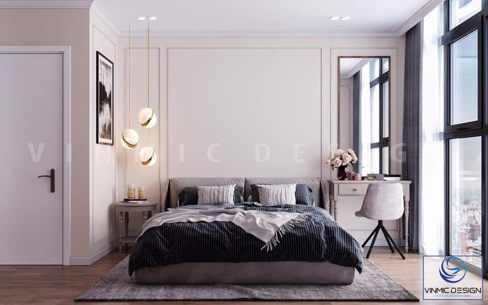 Thiết kế phòng ngủ được tận dụng ánh sáng tự nhiên từ cửa sổ lớn