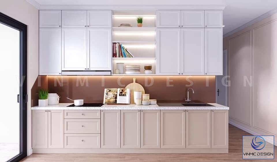 Thiết kế tủ bếp với phong cách tân cổ điển nhẹ nhàng