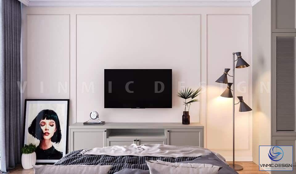 Phòng ngủ được thiết kế kệ ti vi tiện lợi