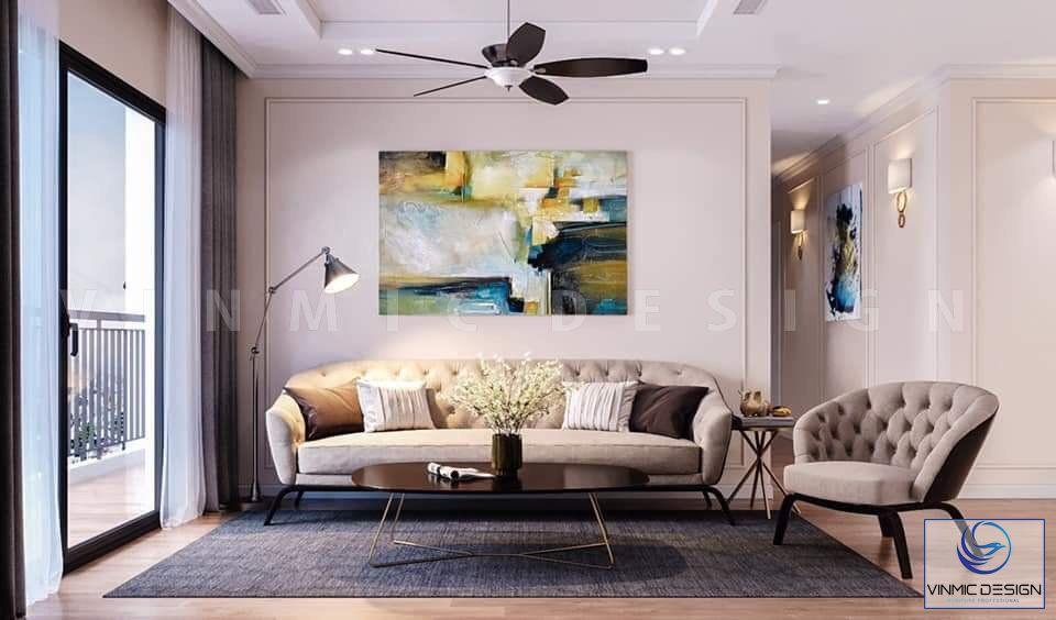 Thiết kế nội thất phòng khách với điểm nhấn là bộ sô pha nhập khẩu đẳng cấp