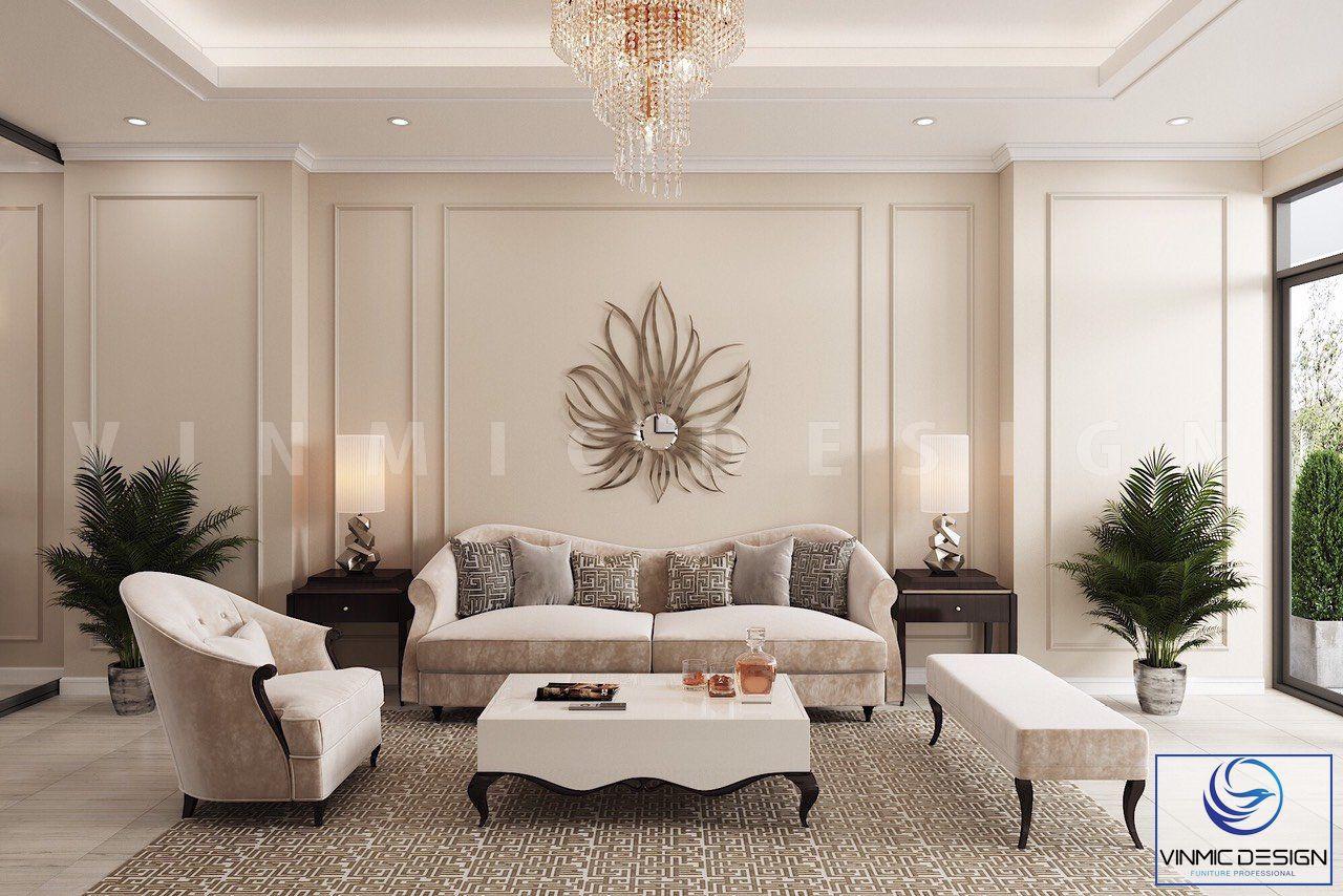 Thiết kế phòng khách với điểm nhấn là bộ sô pha đẳng cấp