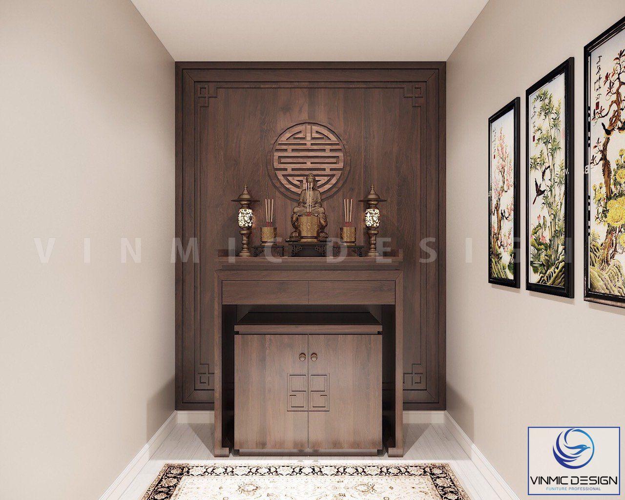 Một góc thiết kế phòng thờ với chất liệu gỗ tự nhiên