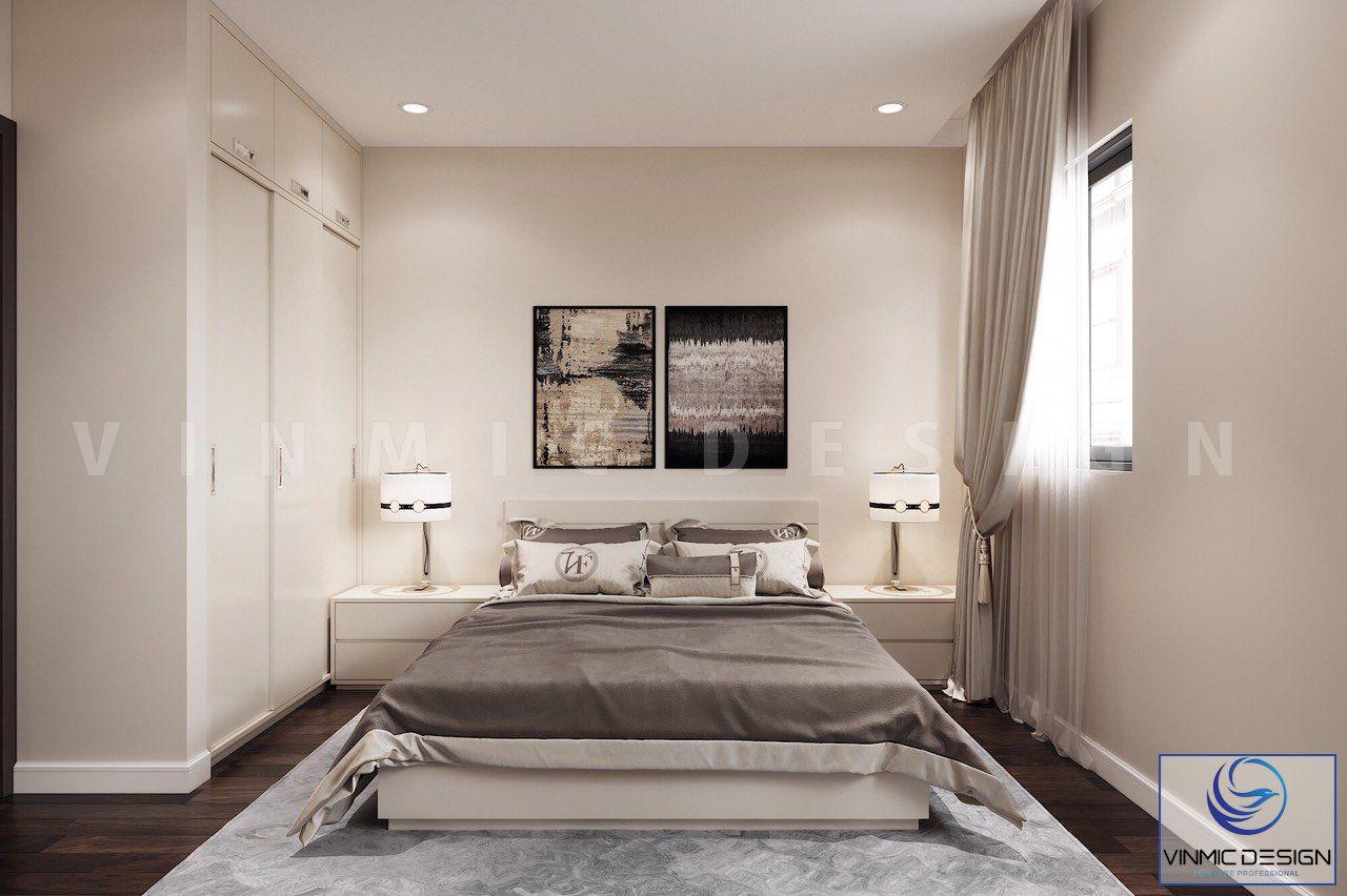 Thiết kế phòng ngủ với bộ tủ áo âm tường