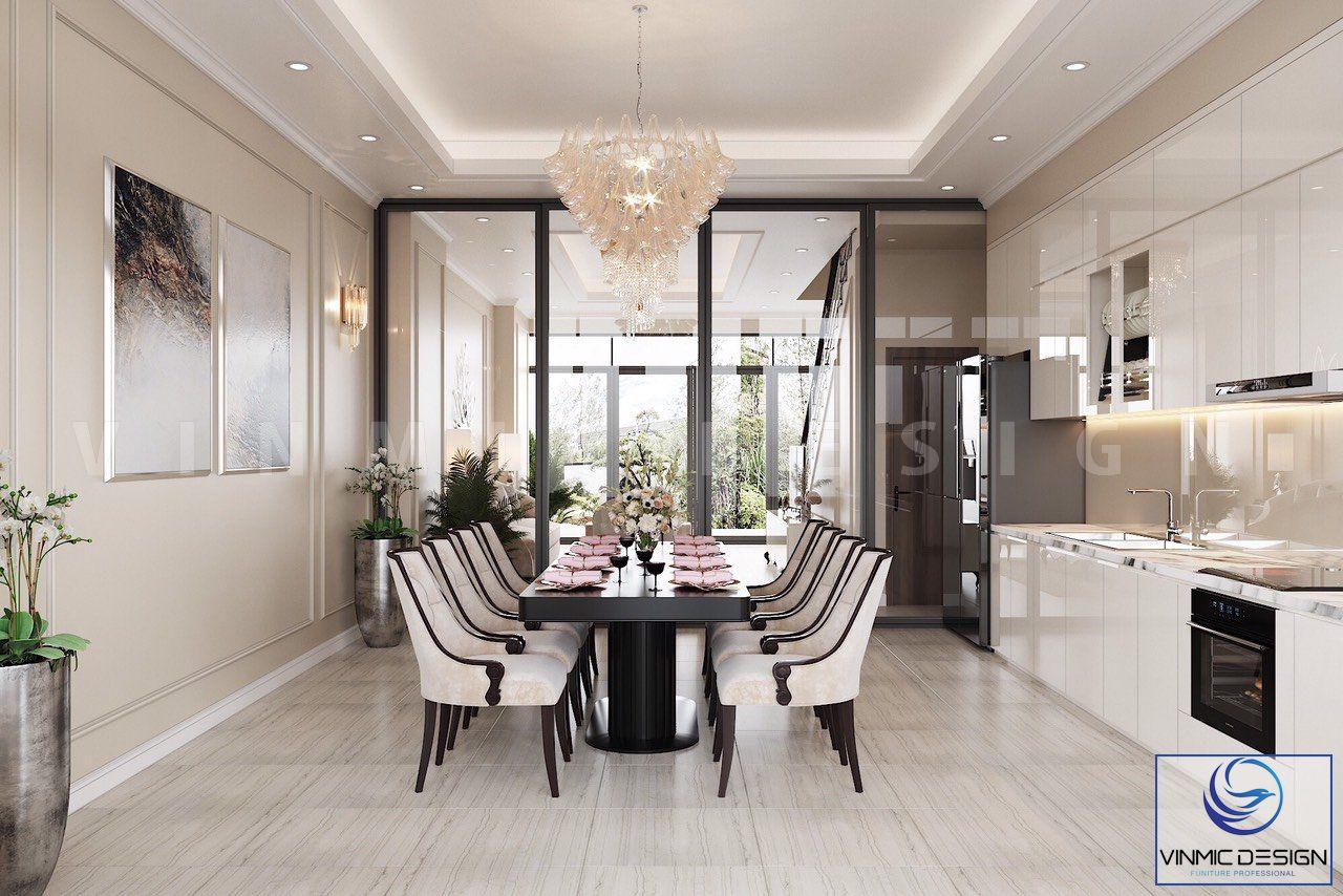 Thiết kế cửa kính tạo một sự rộng rãi, không khí thoáng mát cho phòng bếp