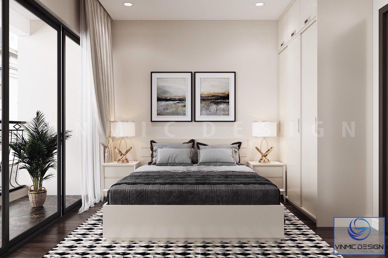 Bộ giường ngủ được thiết kế đơn giản
