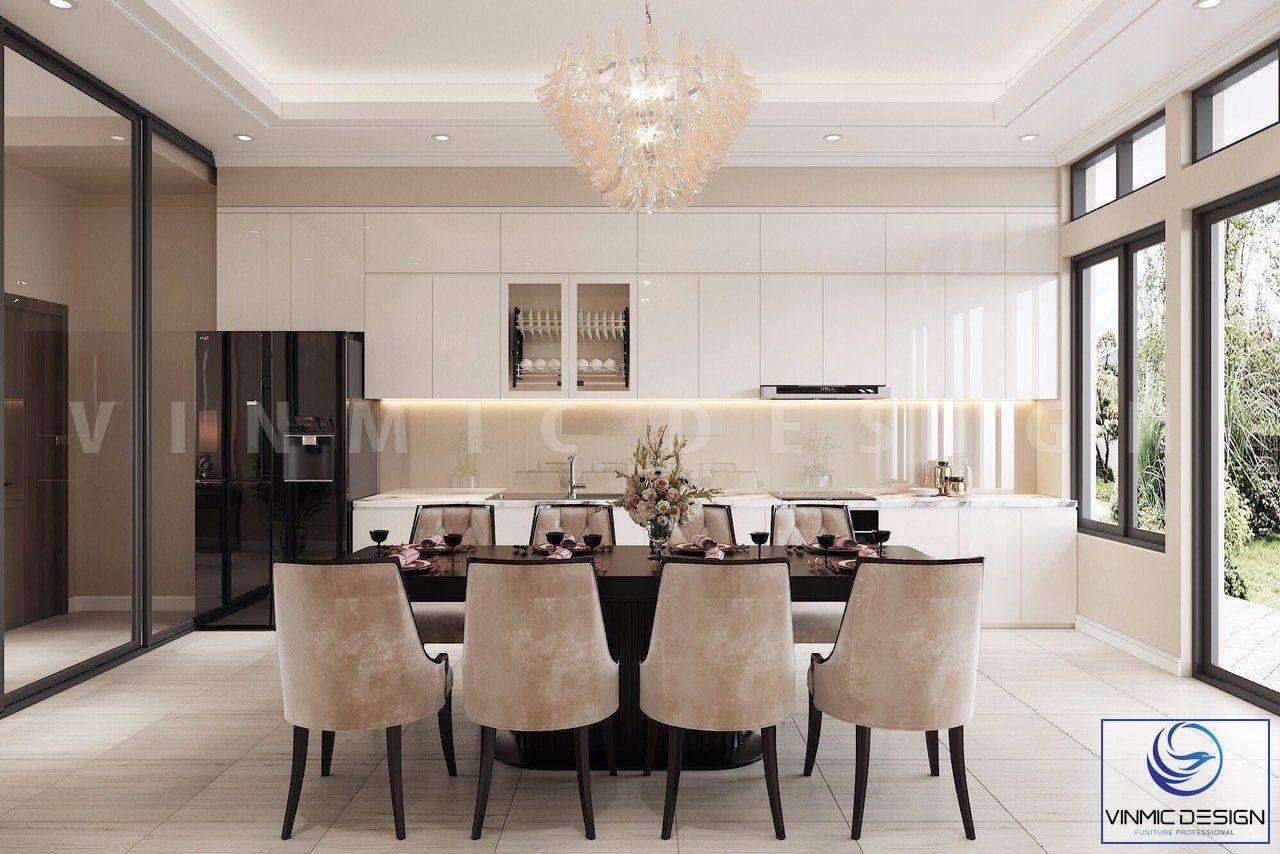Không gian phòng bếp đầy đủ tiện nghi, từ bếp ăn, bàn ghế ăn
