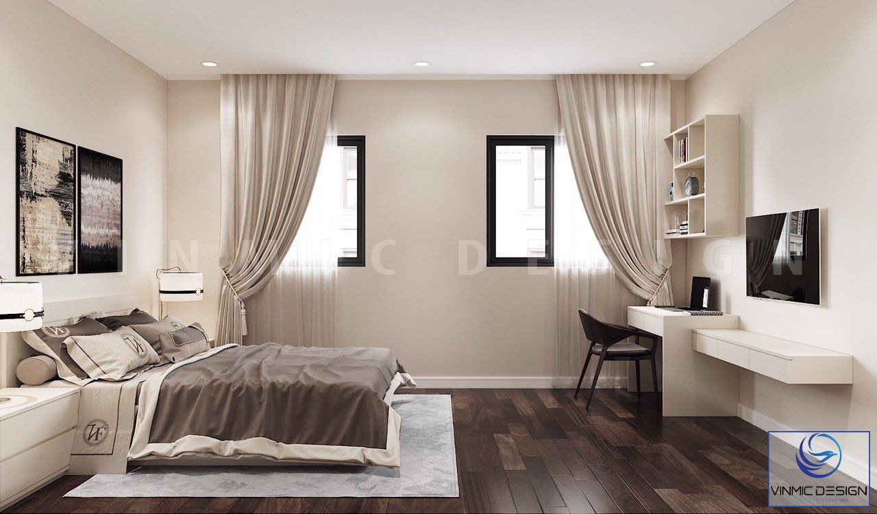 Tông màu vàng của phòng ngủ tạo nên sự ấm cúng