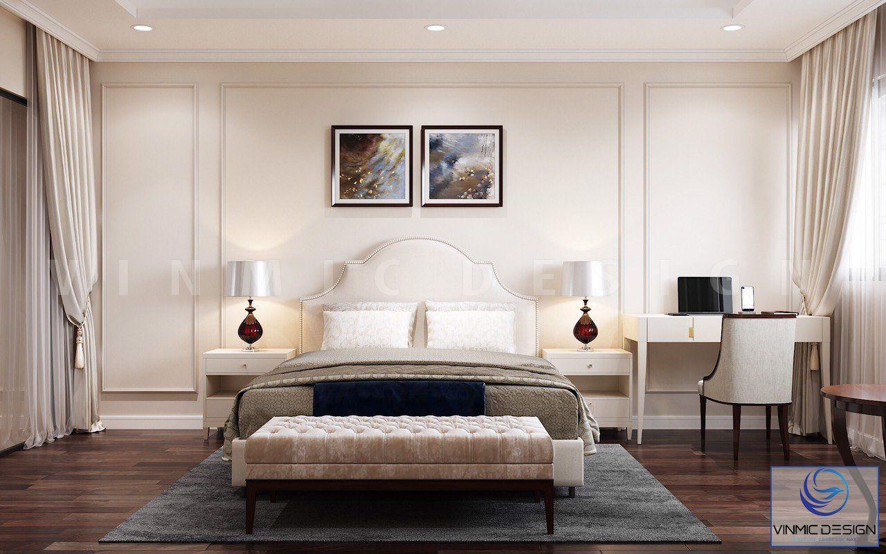 Không gian phòng ngủ trở nên mềm mại nhờ những đường chỉ tường
