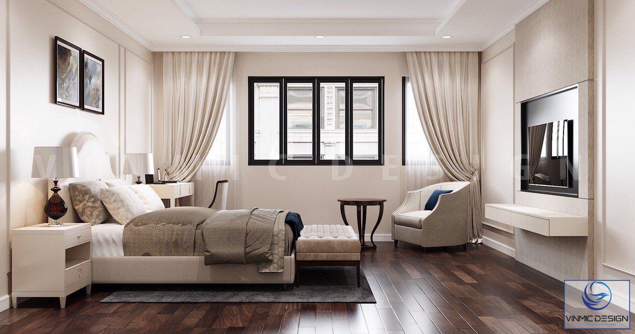 Thiết kế phòng ngủ đẹp mắt, bố trí công năng hợp lí