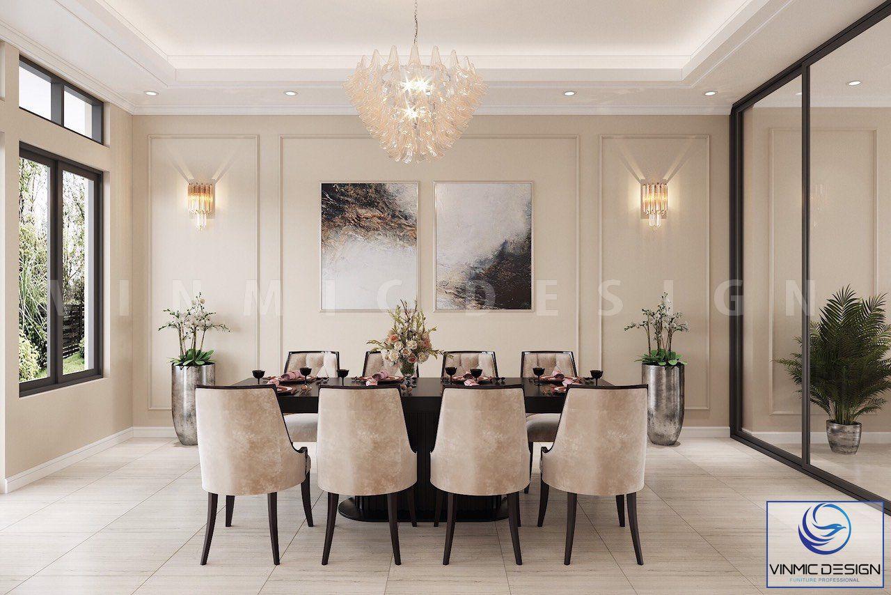 Bộ bàn ghế ăn được thiết kế đậm chất phương tây