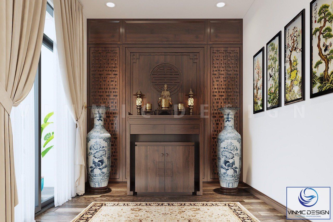 Thiết kế phòng thờ gia tiên bằng chất liệu gỗ tự nhiên, họa tiết tỉ mỉ