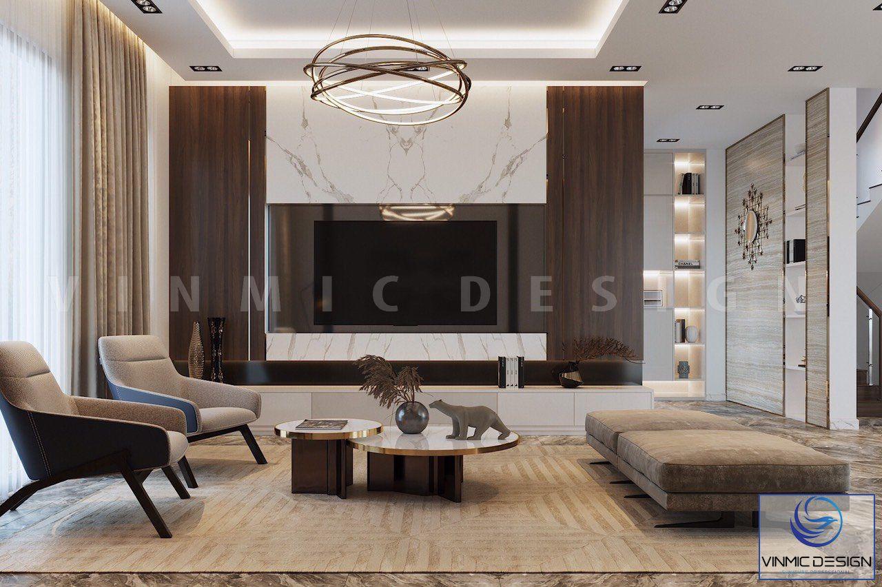 Thiết kế phòng khách nổi bật với vách ốp đá nhân tạo và kệ ti vi