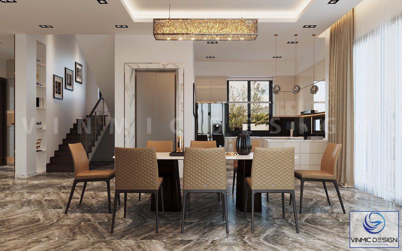 Phòng bếp được thiết kế tiện nghi với bộ bàn ăn
