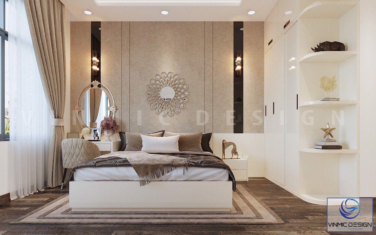 Chất liệu ốp tường bằng nỉ cao cấp, tạo điểm nhấn cho phòng ngủ này