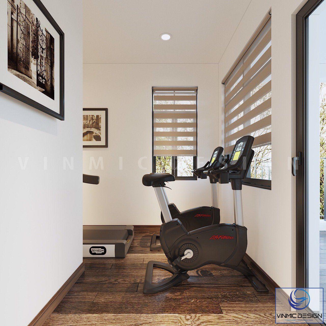Một góc nhỏ của biệt thự để đặt máy chạy thể dục, năng cao sức khỏe