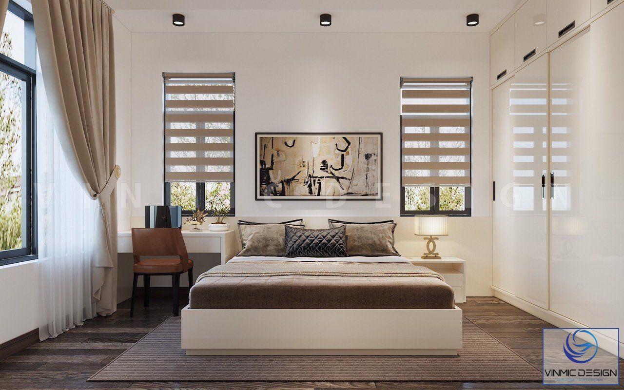 Tủ áo được sử dụng bề mặt acylic sáng bóng, phong cách hiện đại