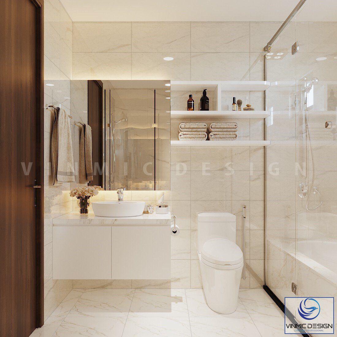 Thiết kế phòng vệ sinh sạch sẽ, gọn gàng với tông màu vàng ấm