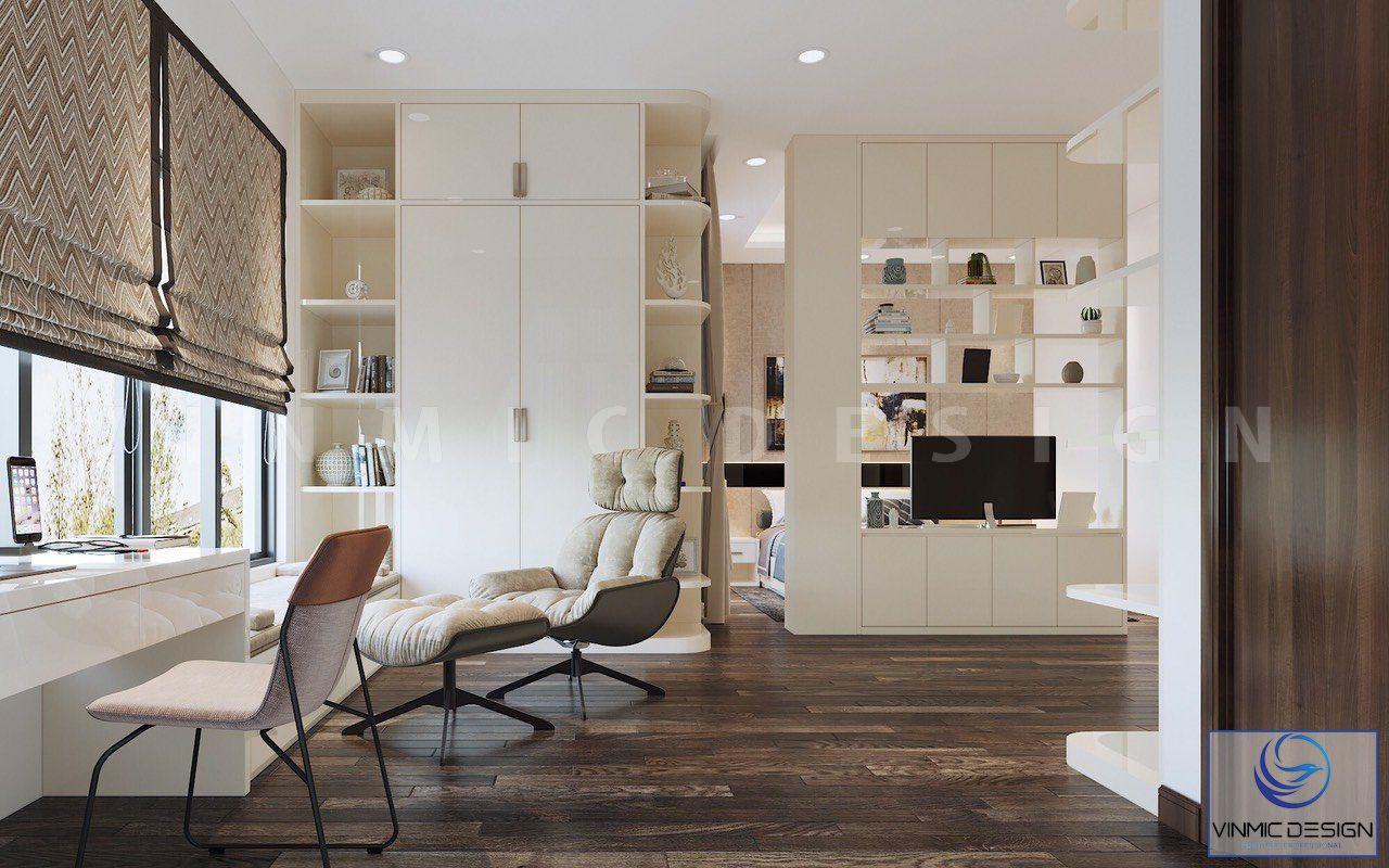 Phòng ngủ được thiết kế thêm bộ bàn ghế thư giãn