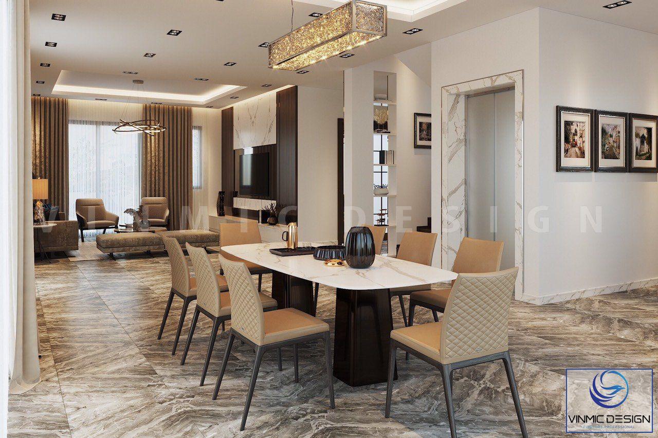 Không gian phòng khách rất rộng, được sắp xếp công năng hợp lí