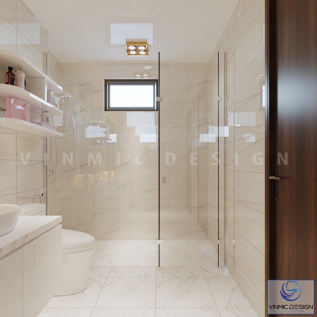 Phòng tắm được thiết kế bố trí hợp lí và thoáng nhờ vách kính