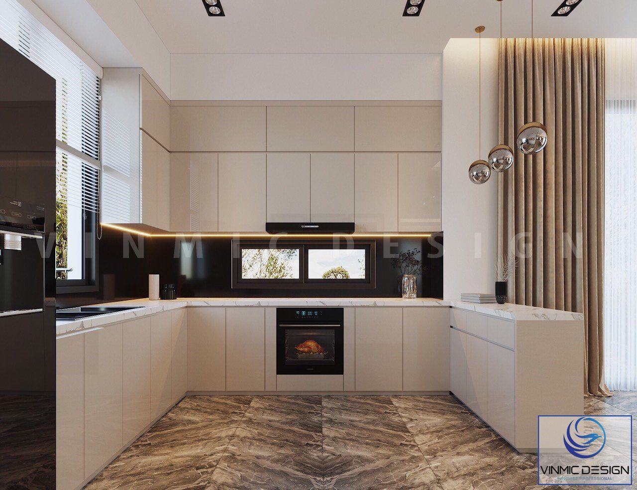 Thiết kế nội thất tủ bếp với tông màu trắng, chất liệu gỗ công nghiệp hiện đại