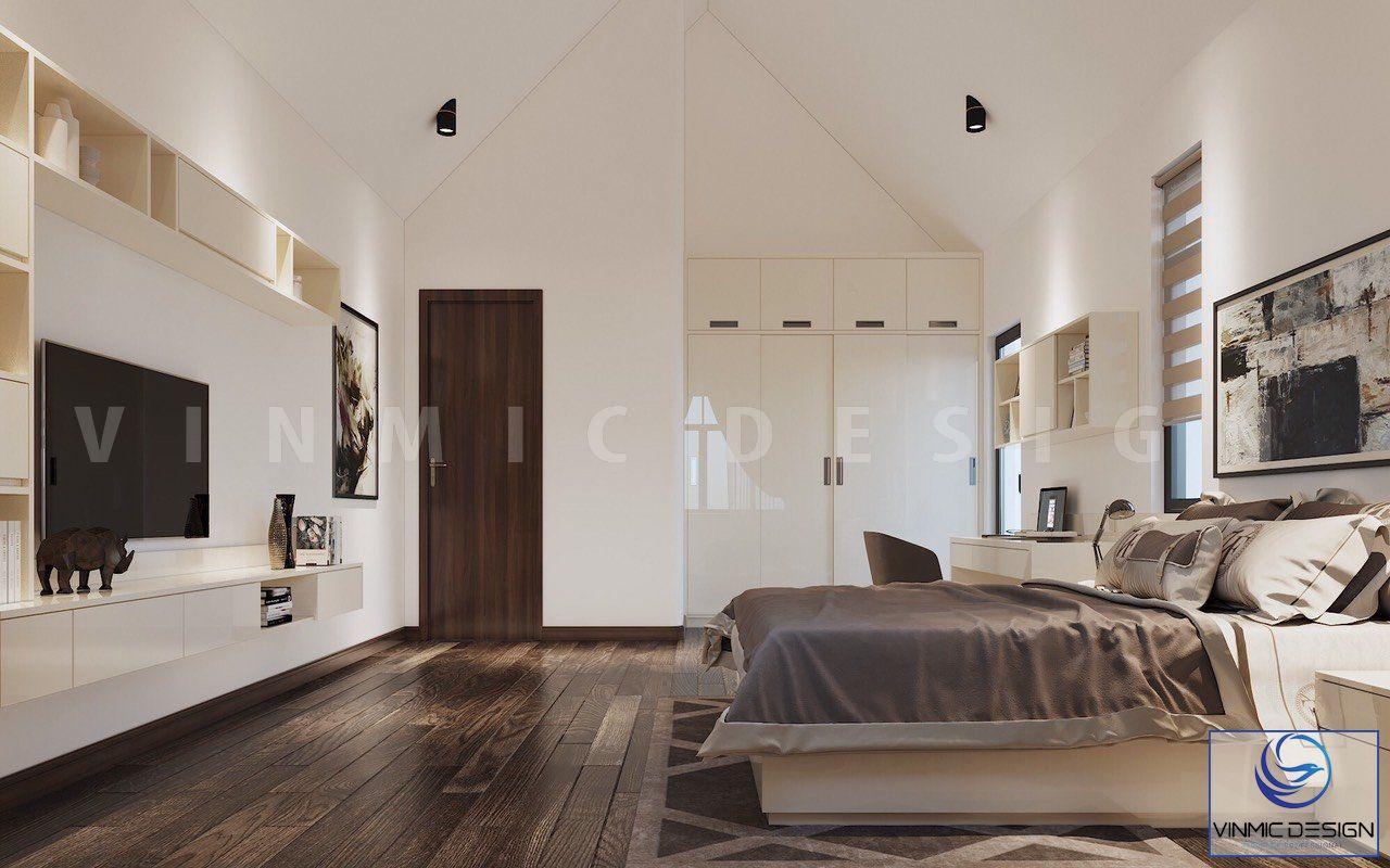 Tông màu đối lập đen trằng của phòng ngủ làm tôn lên đồ nội thất