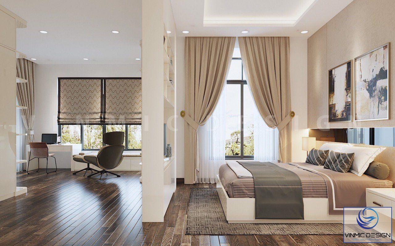 Phòng ngủ được thiết kế nổi bật qua các chi tiết nội thất