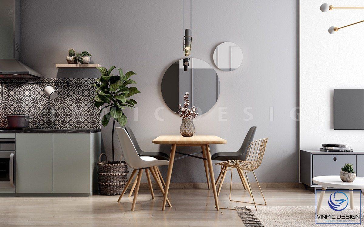 Bộ bàn ăn được thiết kế gọn gàng và đơn giản