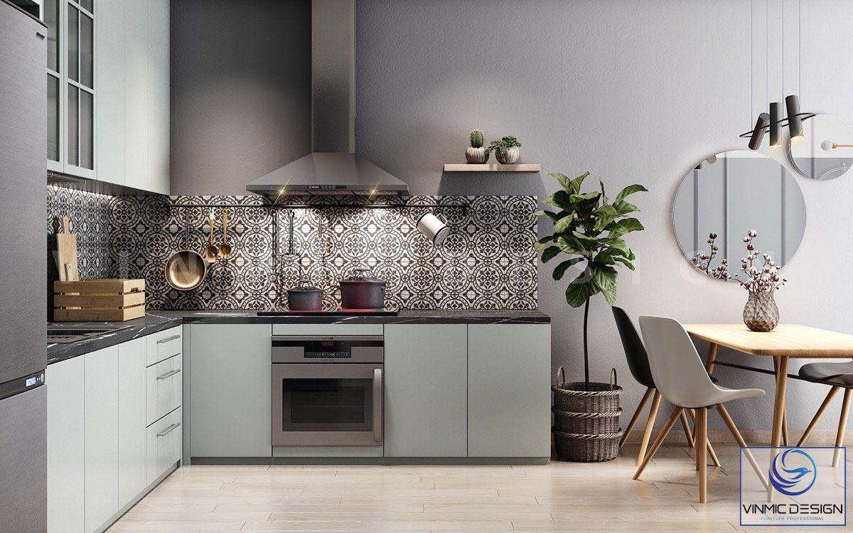 Với chất liệu bề mặt acrylic, dễ dàng vệ sinh cho gian bếp