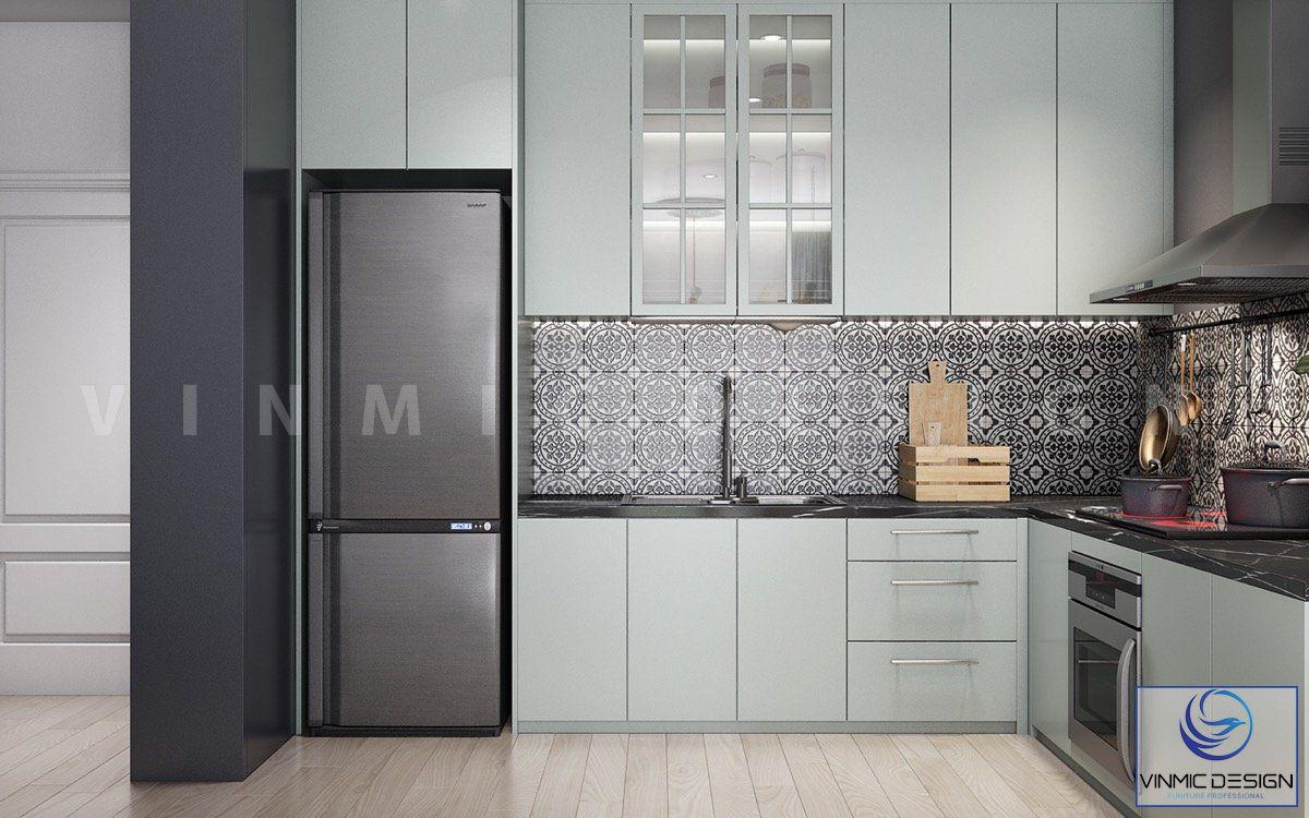 Thiết kế tủ bếp dạng chữ L để tiết kiệm diện tích