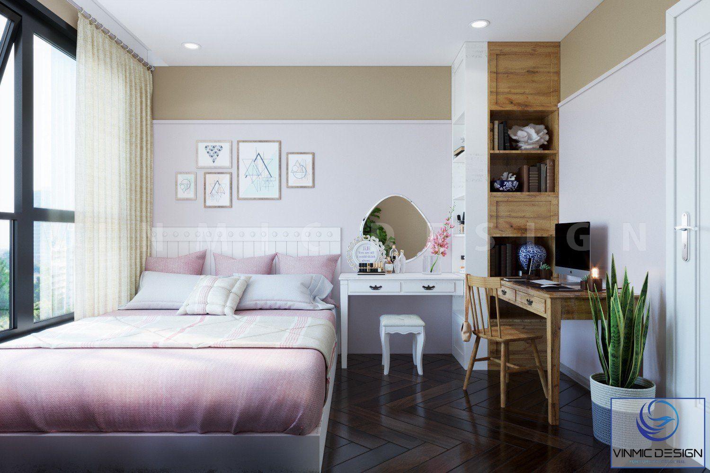 Không gian phòng ngủ gọn gàng, với tông màu hiện đại