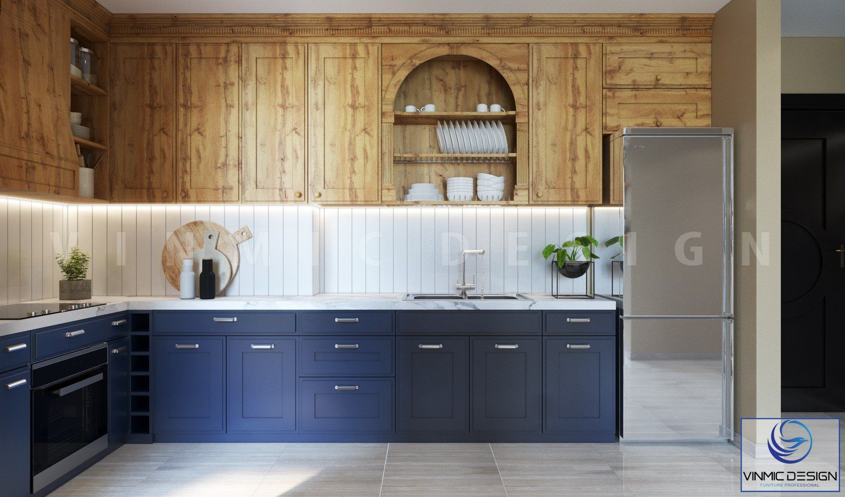 Tủ bếp được thiết kế kịch trần để tận dụng công năng sử dụng