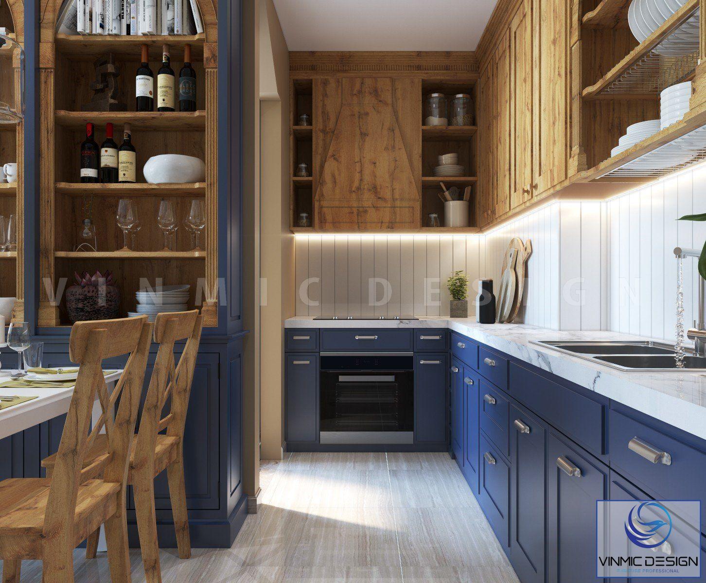Thiết kế tủ bếp phong cách tân cổ đẹp mắt
