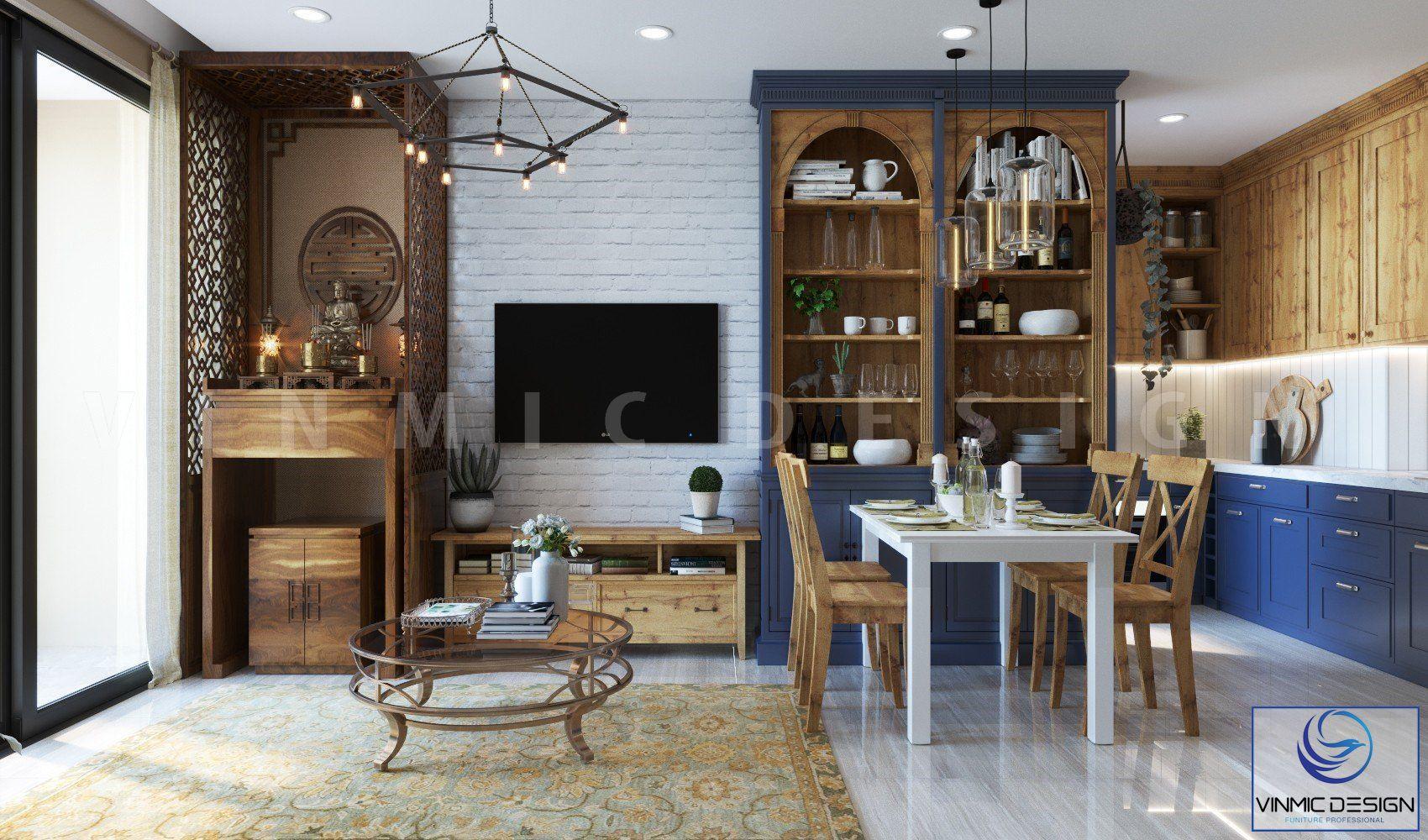 Phòng khách kết hợp với phòng bếp để tối ưu diện tích và công năng sử dụng