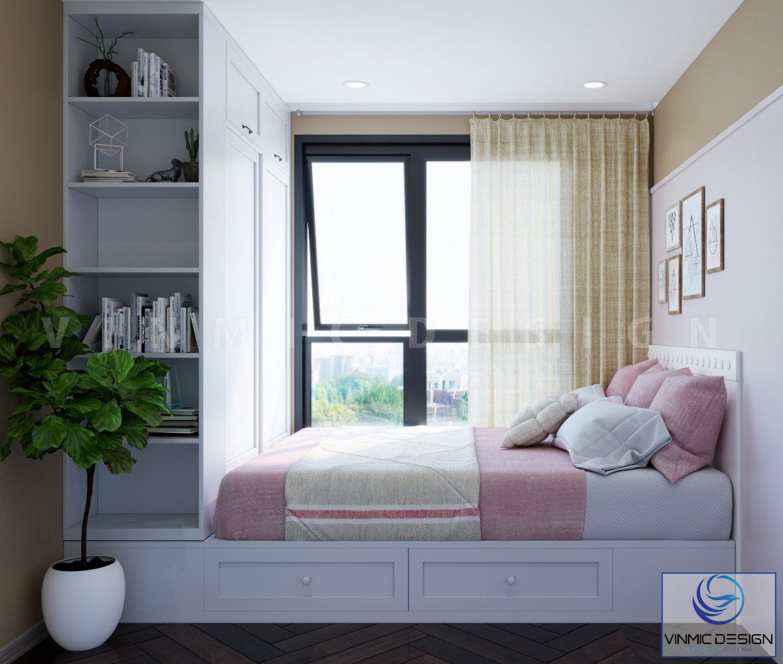 Giường ngủ được thiết kế thêm hệ tủ kéo để đồ tiện lợi
