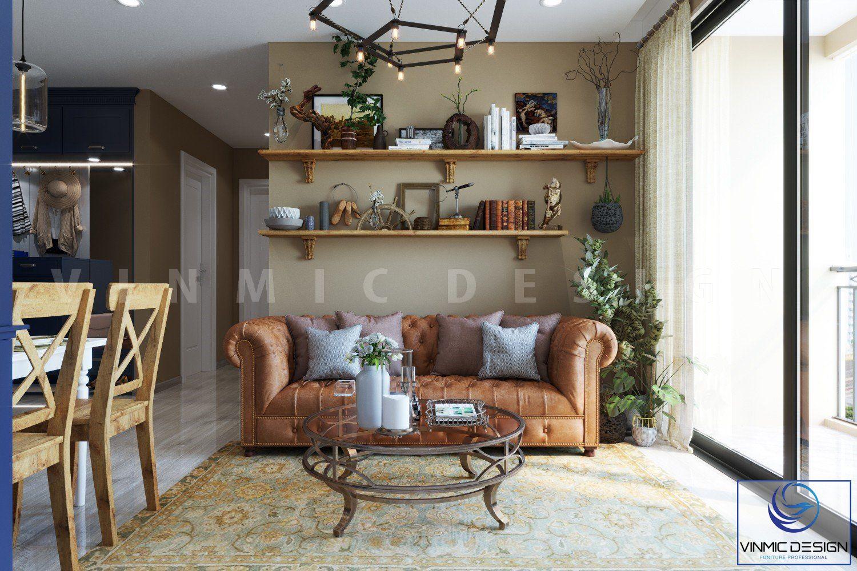 Thiết kế phòng khách với bộ sofa nhỏ gọn, đơn giản