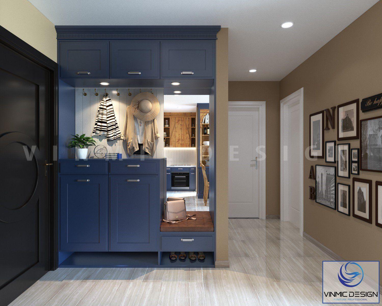 Đầu phòng khách được thiết kế tủ giày và trang trí tiện lợi