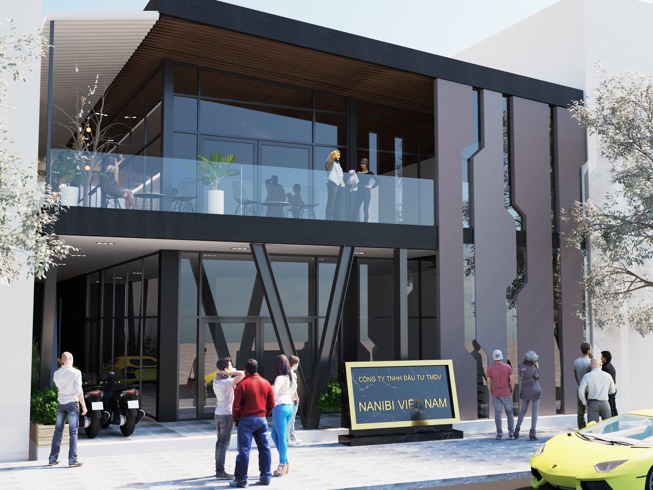Không gian nhà tiền chế được thể hiện qua hai tầng, vừa trưng bày mặt hàng công ty, vừa có không gian giải trí cho khách hàng