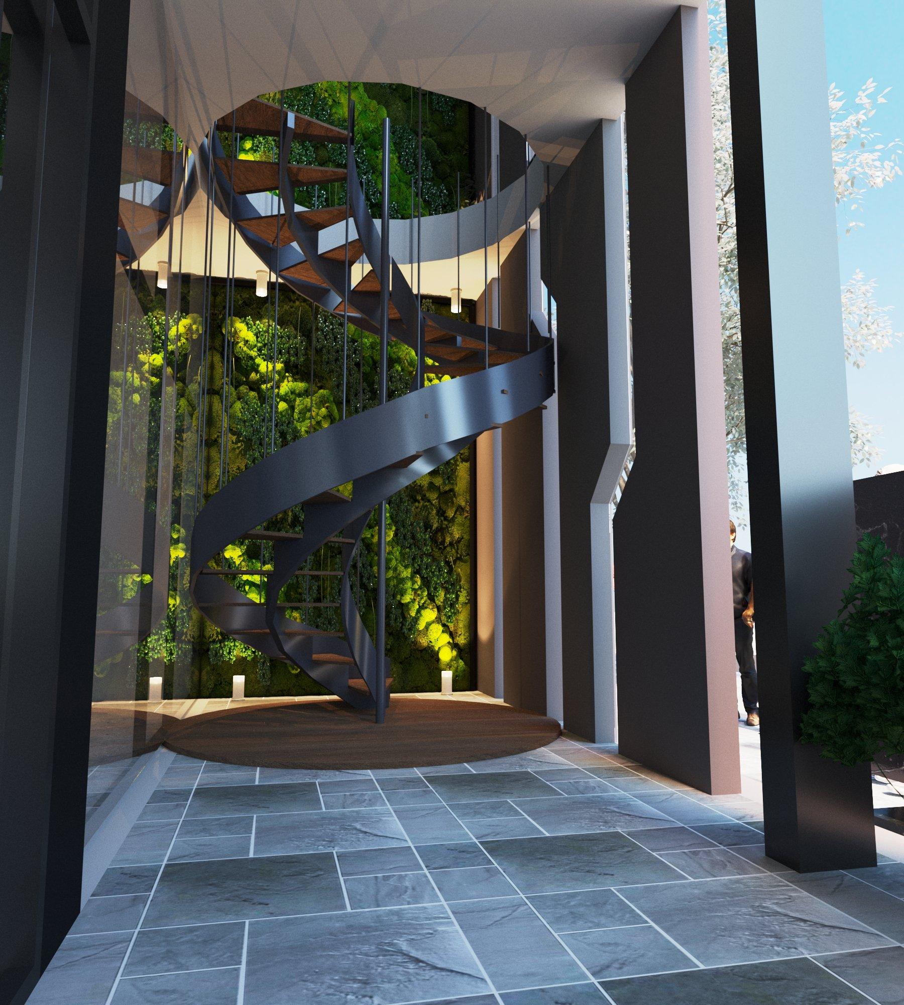 Thiết kế cầu thang nhà thép đi lên tầng 2 với sự cách điệu, lạ mắt