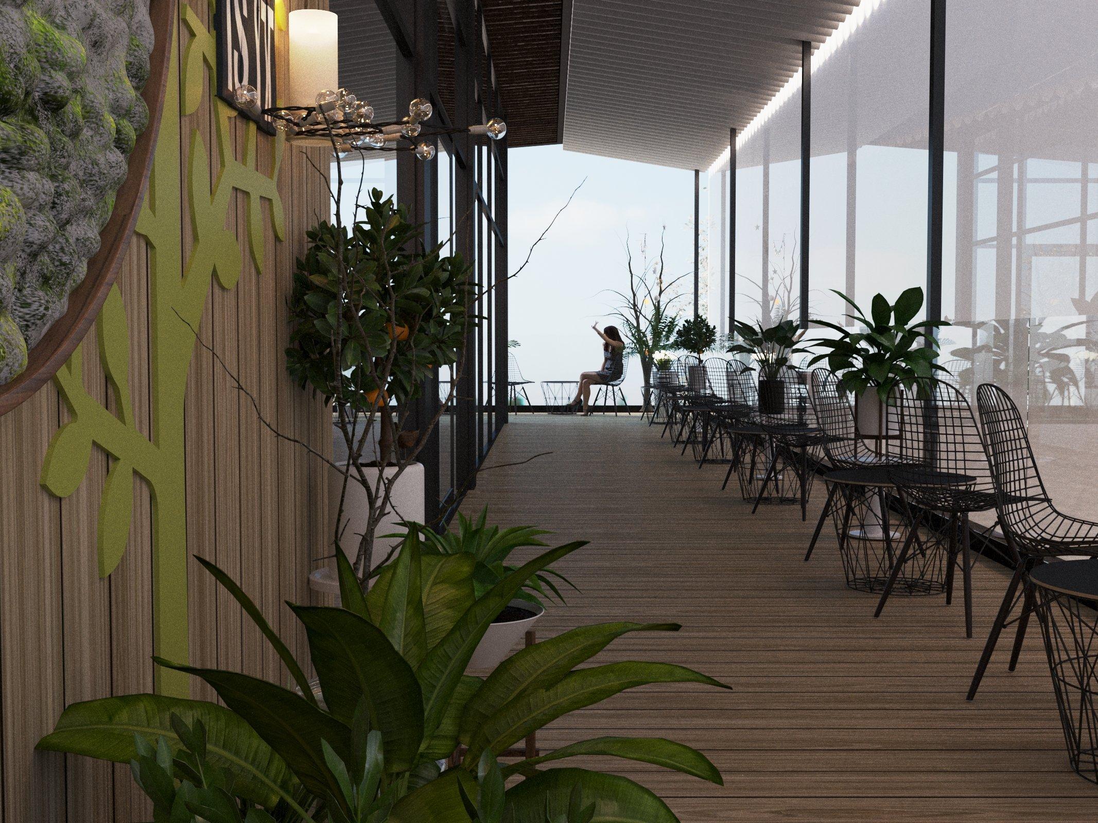 Khu vui chơi, giải trí, uống cá phê, trên tầng 2 để khách hàng công ty được thoải mái và thư giãn