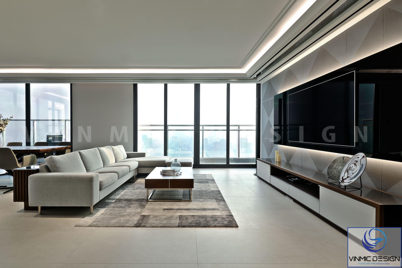 Phòng khách được bố trí sofa đối xứng với kệ ti vi