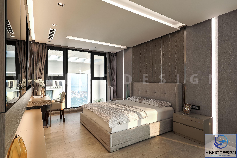 Giường ngủ được thi công đơn giản và đươc đặt ngay trung tâm