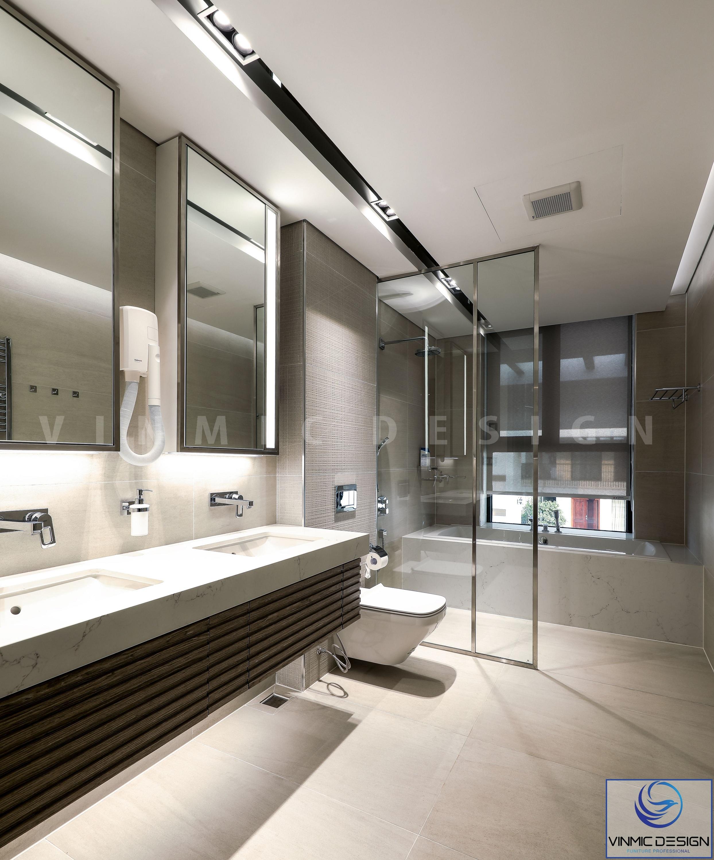 Không gian phòng tắm, vệ sinh được thi công ấn tượng nhờ những hệ thống đèn led