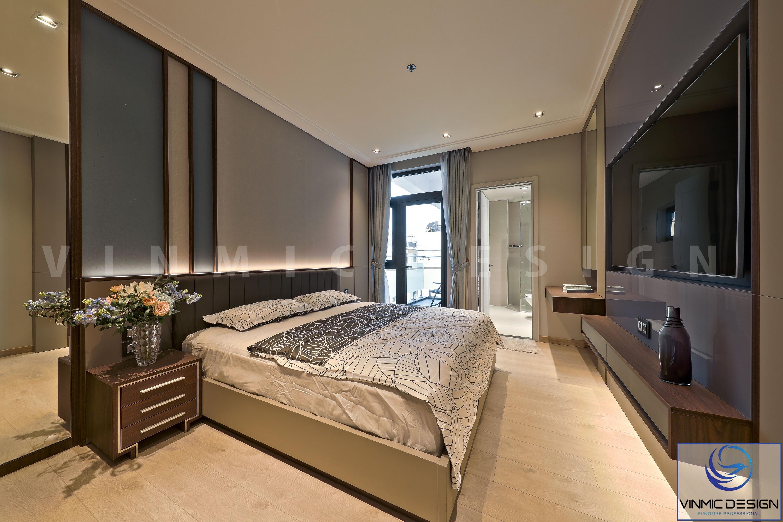 Phòng ngủ được thi công với chất liệu gỗ công nghiệp đơn giản